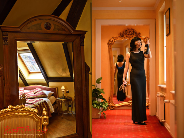 Left, room shot  detail. Right, lifestyle shot of mature model in evening dress with champagne and glassware. Boutique Hotel photography in Prague by Kent Johnson.