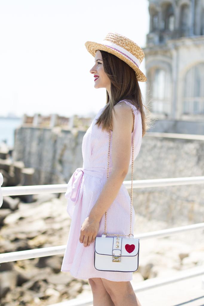 zaful white dress with stripes