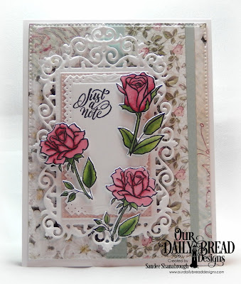 Our Daily Bread Designs Stamp/Die Duos:His Love Endures, Paper Collection:  Romantic Roses, Custom Dies: Filigree Frames, Pierced Rectangles