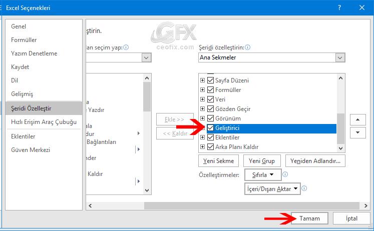 Excel'de Geliştirici Sekmesini Göster-www.ceofix.com