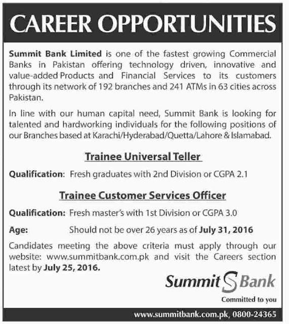 Officers Jobs in Pakistan Summit Bank Jobs 2016