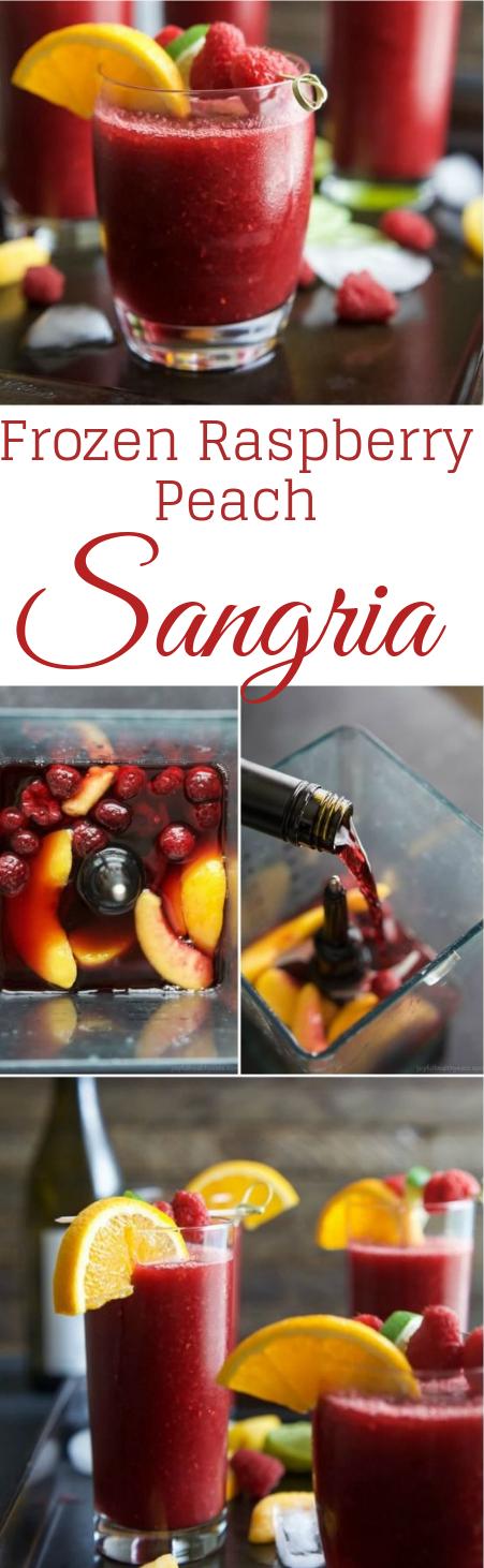 Frozen Raspberry Peach Sangria #sangria #summer