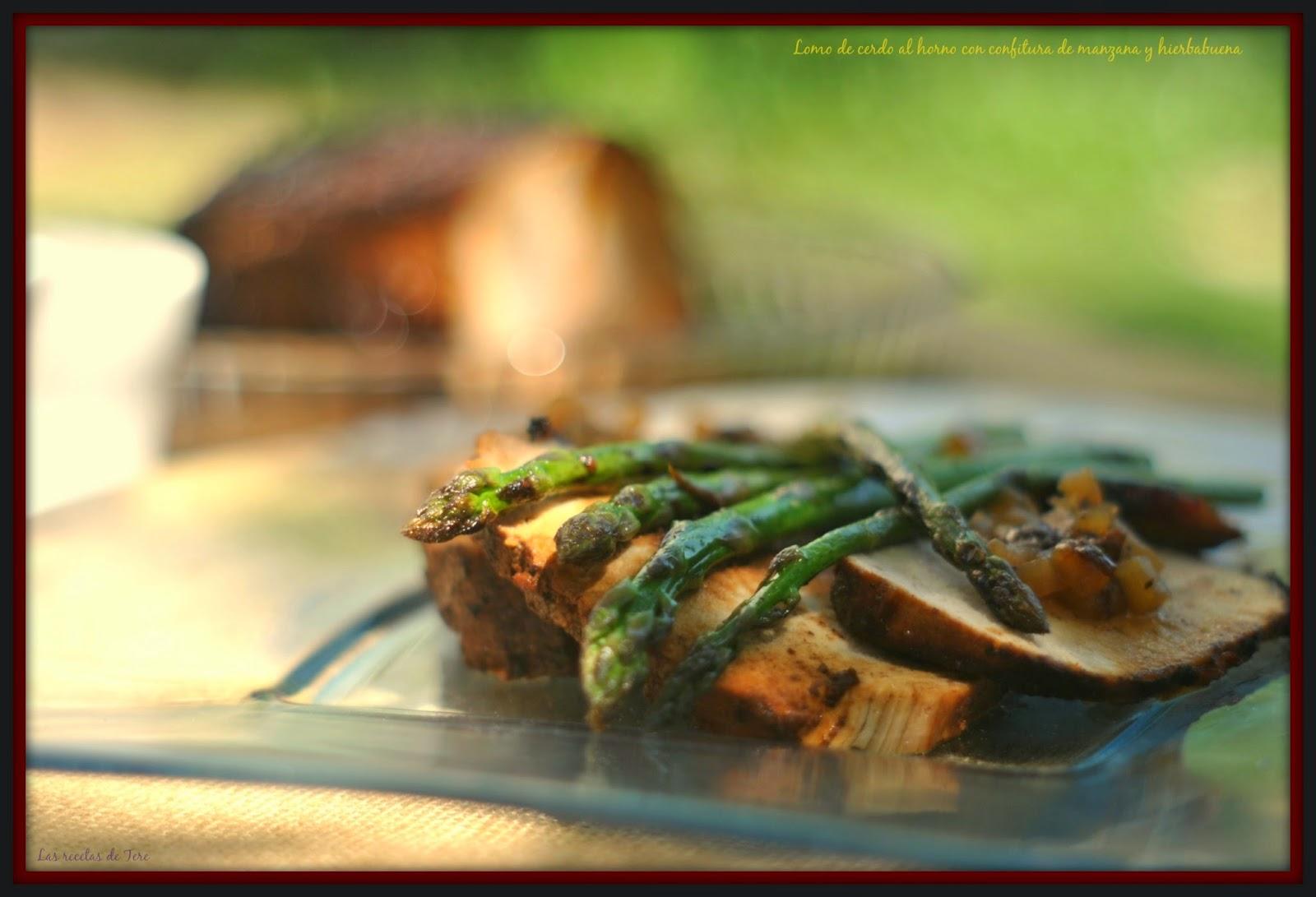 Lomo de cerdo al horno con confitura de manzana y hierbabuena 03