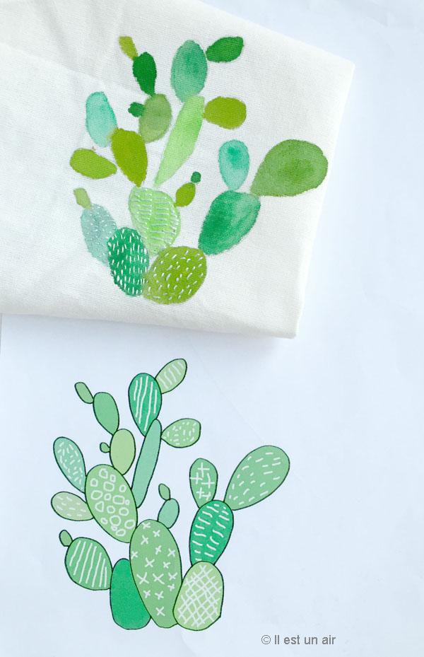 Cactus peint et brodé