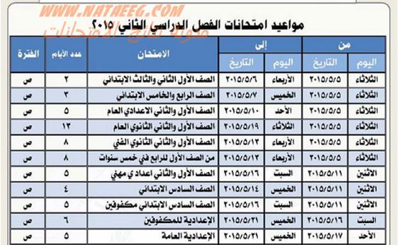 محافظة الجيزة   جدول امتحانات الترم الثانى 2015 للشهادة الثانويه والاعداديه والابتدائة