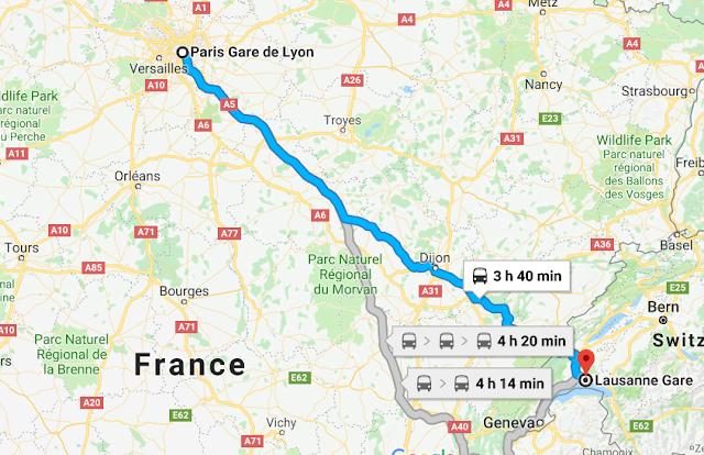 Mapa viagem de trem de Paris a Lausanne