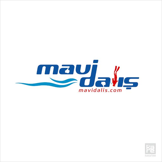 mavi dalgıç deniz logo tasarımı