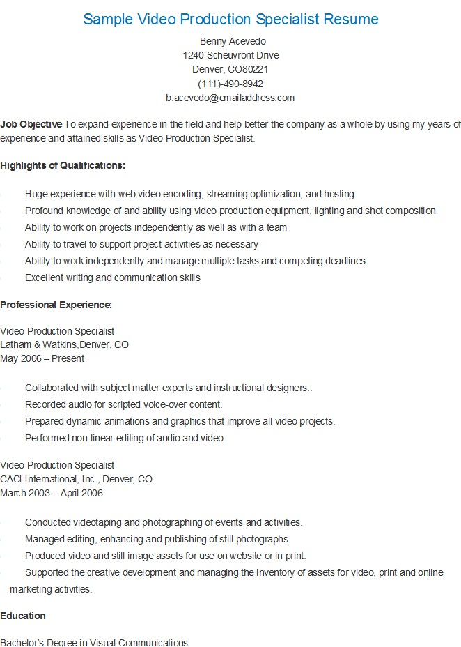 resume sles sle production specialist resume