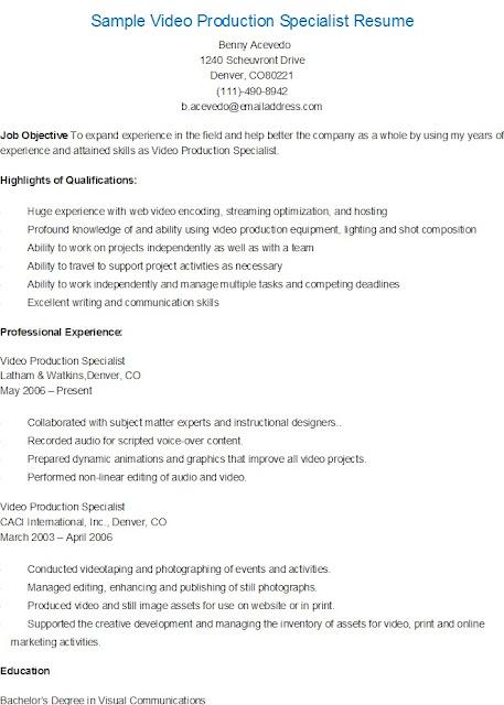 resume sles sle production specialist resume