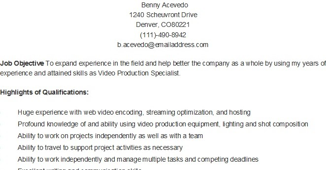 resume samples sample video production specialist resume
