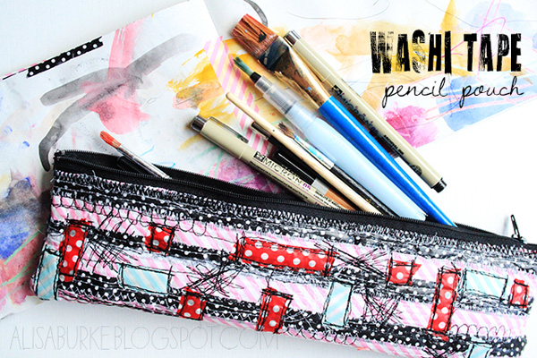 Washi Tape Pencil Pouch Sewing Tutorial by Alissa Burke - This pretty little panda pouch is from a massive list of 16 Awesome Free Pencil Case Tutorials!