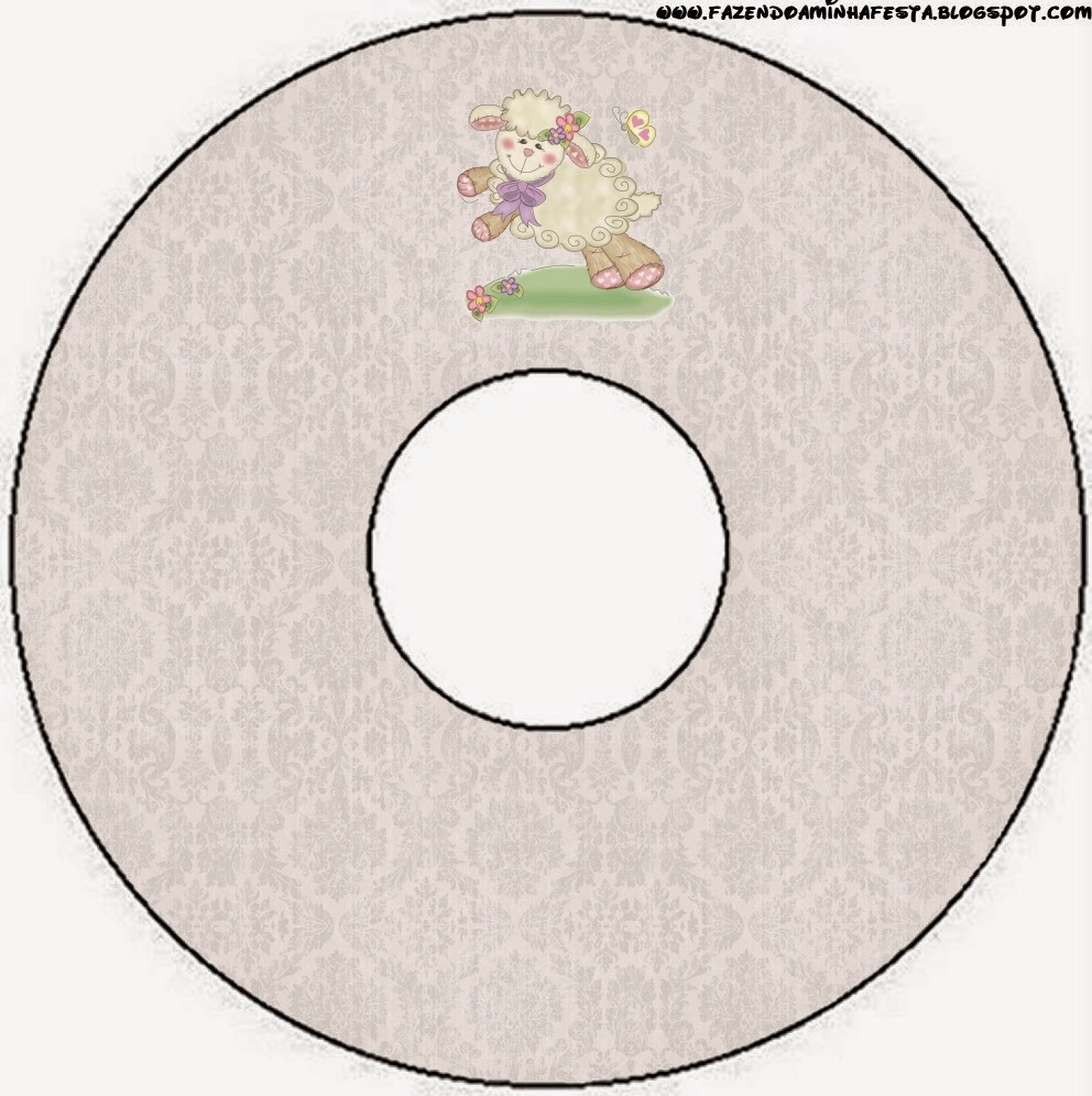 Etiquetas de Ovejita en Fondo Rosa para CD's.