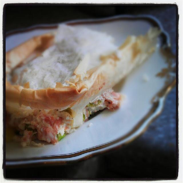 Salmon and Leek Filo Patry Pie