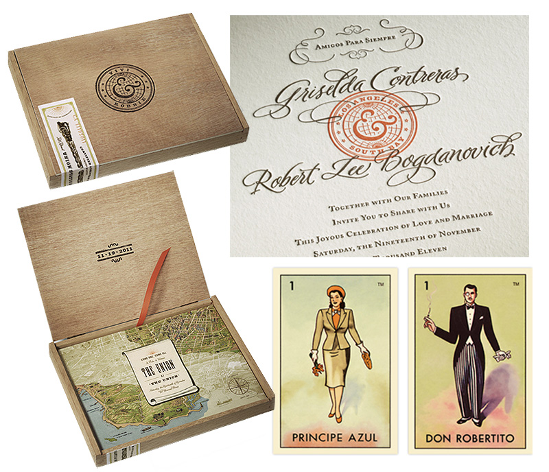 Unique Wedding Invitations In A Box: Letter-pressing And Loteria Cards In Cedar Boxes Make For