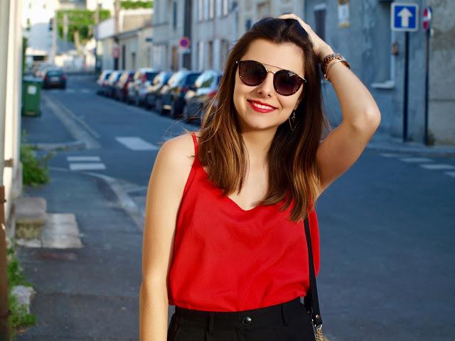 écailles lunettes soleil rouge noir sac zara bershka