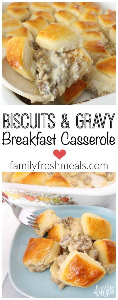 Biscuits and Gravy Breakfast Casserole #biscuits #biscuitsrecipes #breakfast #breakfastrecipes #breakfastideas #casserole #gravybreakfast