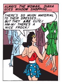 Sensation Comics (1941) #1 Page 3 Panel 2: Wonder Woman does a little window shopping after she has dropped Steve Trevor off at Walter Reed hospital.