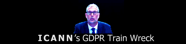 "Photo of ICANN CEO Goran Marby, with words below:"" ICANN's  GDPR Train Wreck""  ©2018 DomainMondo.com"