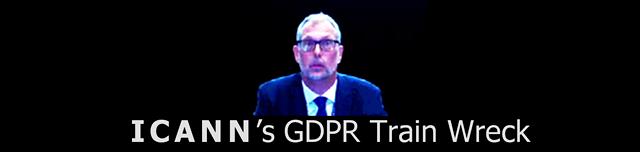 "Photo of ICANN CEO Goran Marby, with words below:"" ICANN's  GDPR Train Wreck""  ©2018 DomainMondo.com"