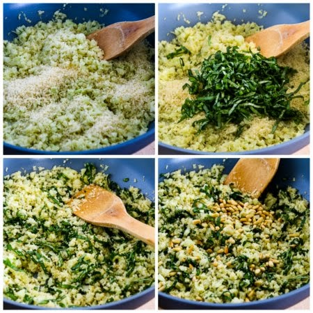 Cauliflower Rice with Basil, Parmesan, and Pine Nuts (Low-Carb, Gluten-Free) found on KalynsKitchen.com