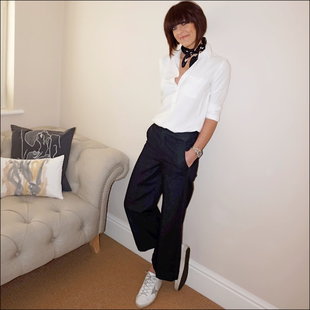 My Midlife Fashion, golden goose super star low top leather trainers, baukjen coco shirt, marks and spencer large polka dot scarf, marks and spencer cropped wide leg jeans