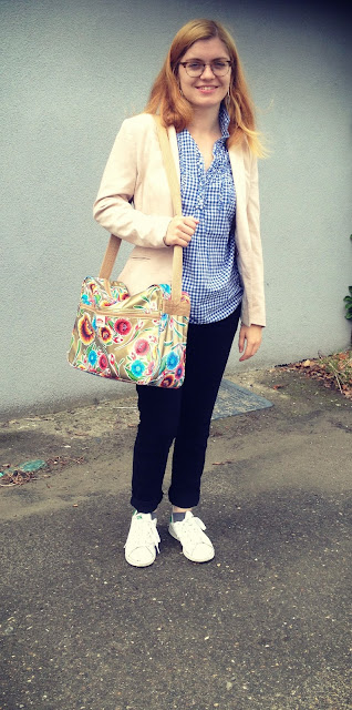 Cream Pink Blazer & White Sneakers