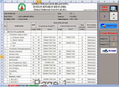 Aplikasi Raport Kurikulum 2013 MA Revisi 2017 Dengan Excel