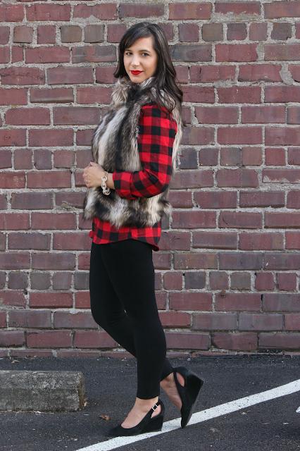 Buffalo Plaid tunic Fall Outfit Faux Fur Vest outfit ideas