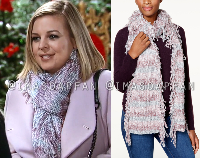 Maxie Jones, Kirsten Storms, Pink Purple and Blue Fringed Scarf, General Hospital, GH