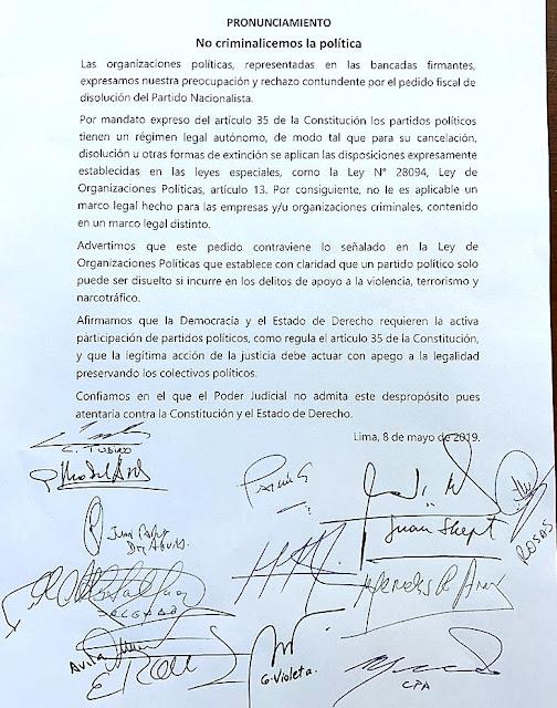Fuerza Popular y otras bancadas rechazan pedido para disolver Partido Nacionalista