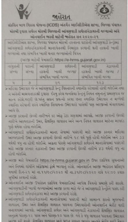 Morbi Anganwadi Bharti Jaherat 2020 @ e-hrms.gujarat.gov.in