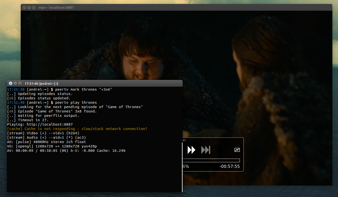 PeerTV: Command-Line Tool To Manager And Play TV Series From EZTV