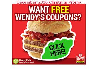 free Wendys coupons december 2016
