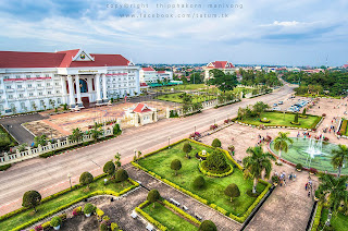 Elevated image of Vientiane looking out from Patuxai Monument in Laos
