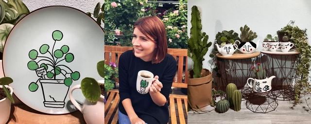 Handgetekende borden en bloempotten met planten door Sabina de Bleijser van Mugsterpiece. Blog make people stare