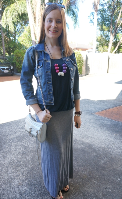 Spring denim jacket and maxi skirt outfit for breastfeeding and coffee date | Away From The Blue