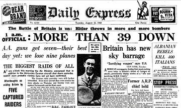 13 August 1940 worldwartwo.filminspector.com Daily Express headlines