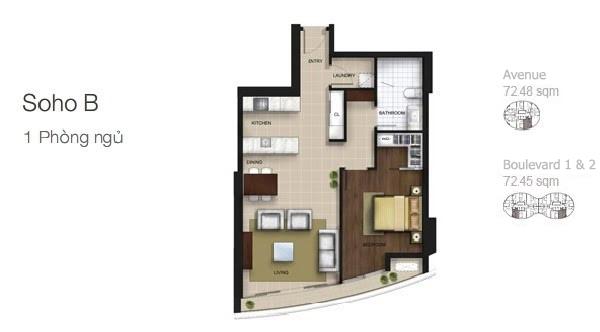 Mặt bằng căn hộ City Garden: Soho B 1 phòng ngủ