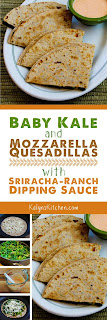 Baby Kale and Mozzarella Quesadillas with Sriracha-Ranch Dipping Sauce found on KalynsKitchen.com