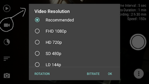Mengatur video resolution saat membuat timelapse di android