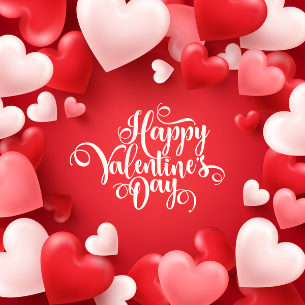 Valentine's Day Heart shape valentine card with red background free vector download