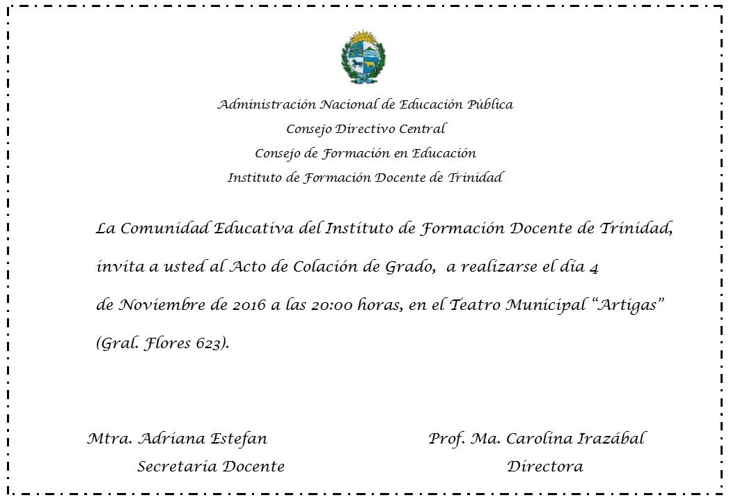 Instituto de formaci n docente acto de colaci n de grado for Instituto formacion docente