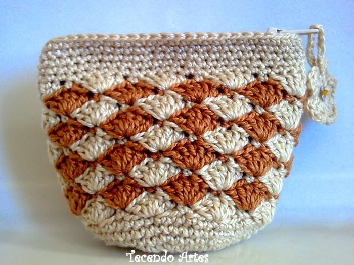 Monedero Crochet Con Rombos Crochet Y Dos Agujas Patrones De Tejido - Monedero-crochet-patron