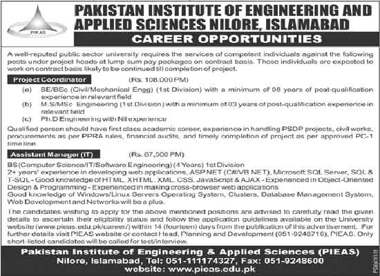 Pakistan Institute of Engineering and Applied Sciences Jobs