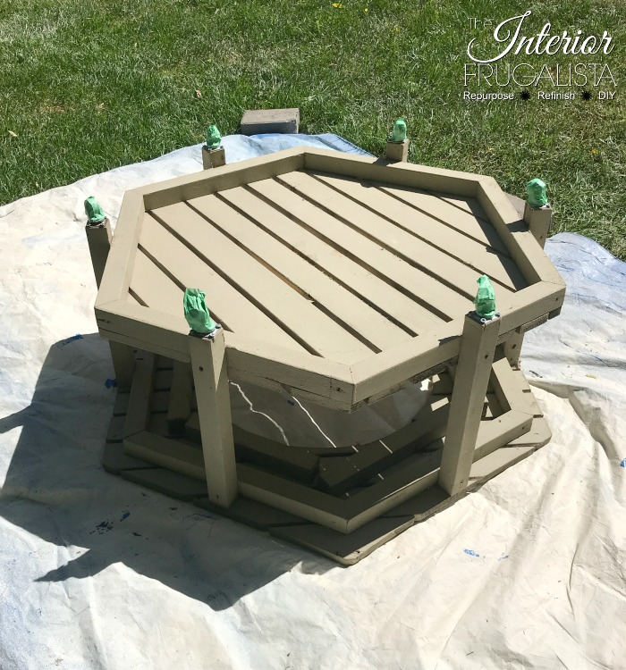 How to stain Adirondack outdoor furniture the easy way! Save your knees and valuable time by tossing the paintbrush to get it done in an afternoon.
