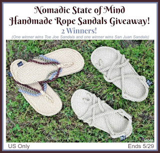 Enter the Nomadic State of Mind Handmade Rope Sandals Giveaway. Ends 5/29