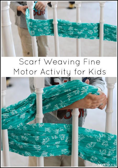 Scarf weaving fine motor activity for kids - a perfect boredom buster for preschoolers from And Next Comes L