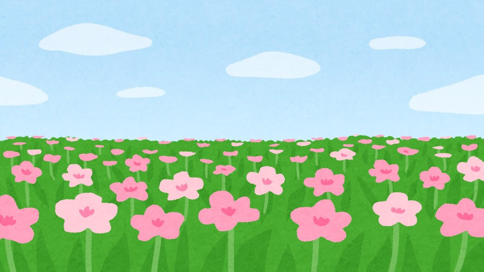 お花畑のイラスト(背景素材)