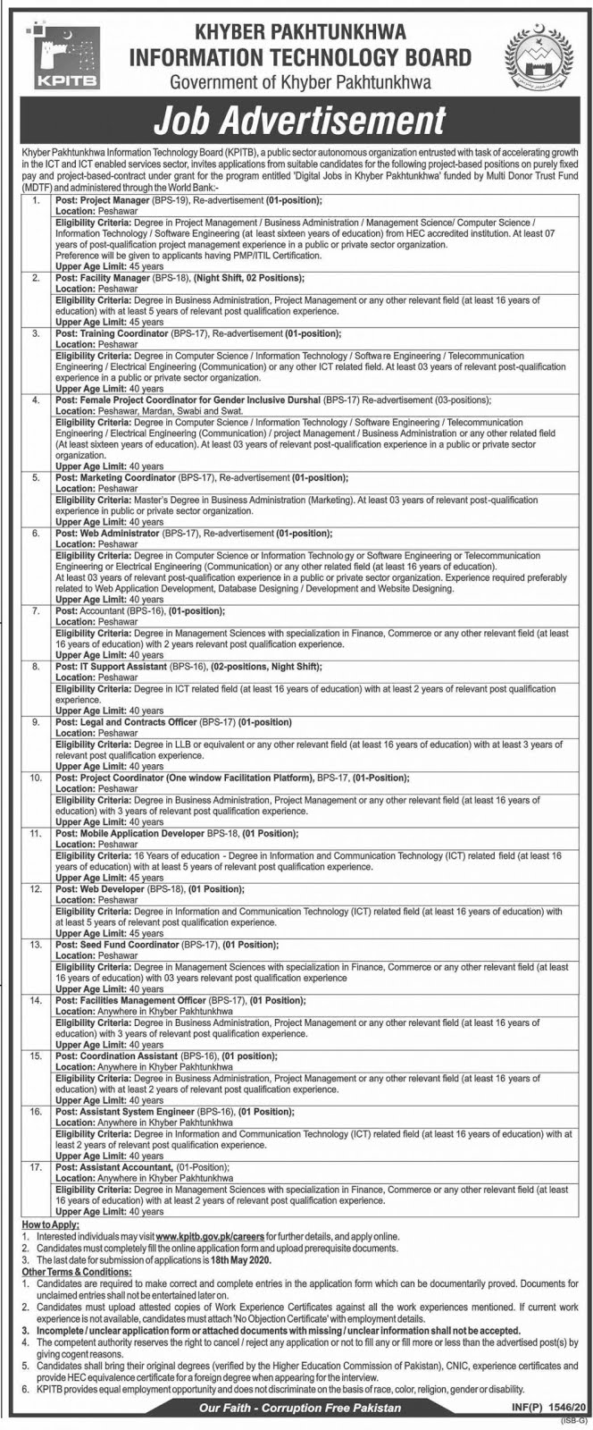 KPITB Jobs 2020 Khyber Pakhtunkhwa Information Technology Board Jobs 2020 Apply Online