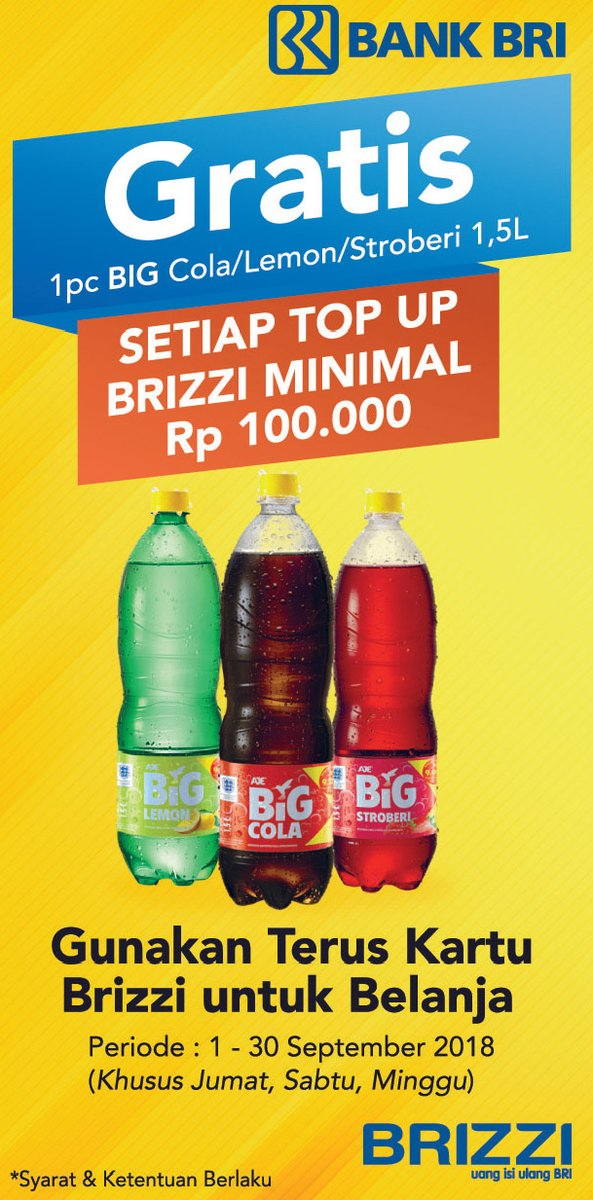Alfamidi - Promo Gratis 1 Pc Big Cola 1,5 L Setiap Top Up BRIZZI Minimal 100 Ribu